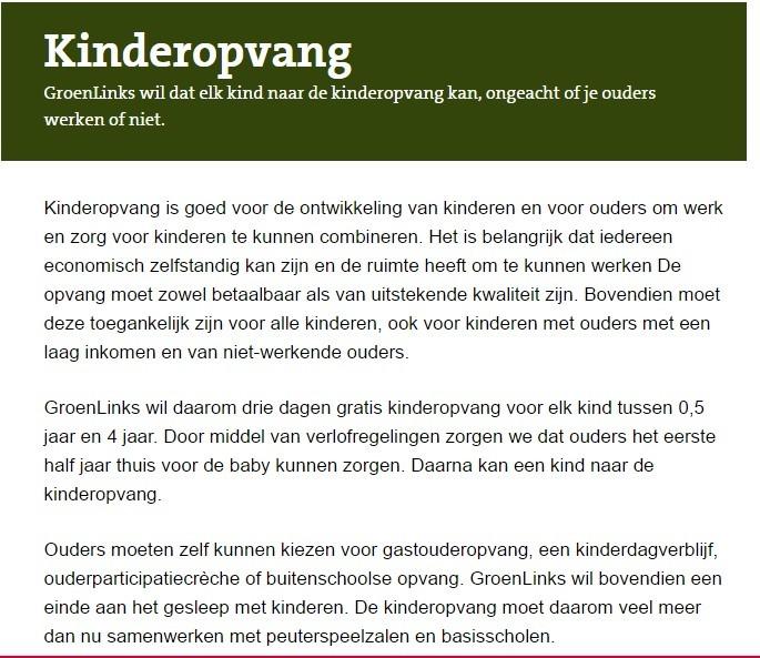 GroenLinks : Standpunt over kinderopvang (2017)