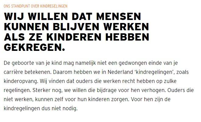 VVD : Standpunt over kinderopvang (2017)