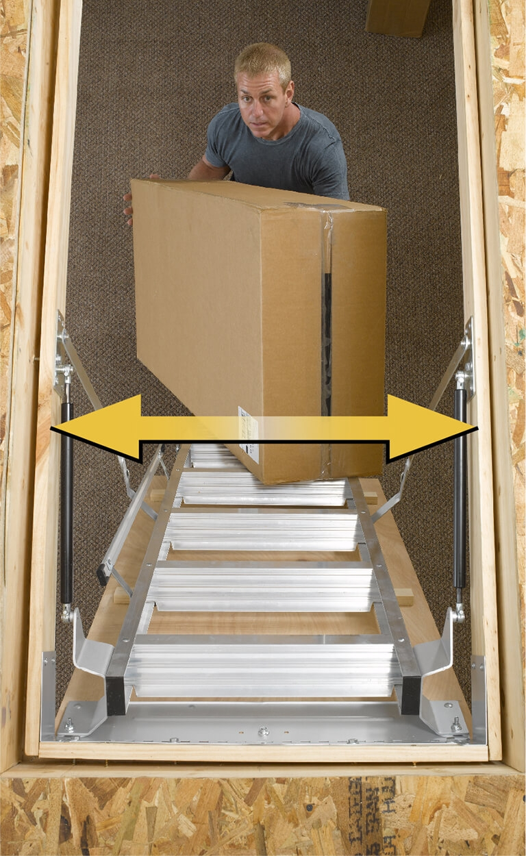 Know Your Dimensions Werner Us   Folding Attic Stairs With Handrail   Attic Remodel   Attic Renovation   Ceiling   Stira   Rainbow F2260