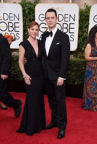 Samatha Bryant and Colin Hanks attends the 72nd annual Golden Globe Awards