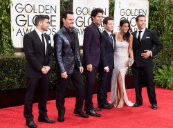 The cast of Entourageattends the 72nd annual Golden Globe Awards