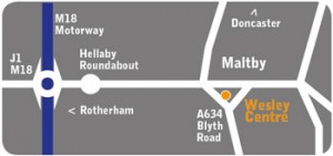 Wesley Centre, Maltby map, Directions
