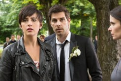 "GRIMM -- ""Thanks for the Memories"" Episode 401 -- Pictured: (l-r) Jacqueline Toboni as Trubel, David Giuntoli as Nick Burkhardt, Bitsie Tulloch as Juliette Silverton -- (Photo by: Scott Green/NBC)"