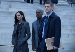 "GOTHAM: Detectives James Gordon (Ben McKenzie, R), Renee Montoya (Victoria Cartagena, L) and Crispus Allen (Andrew Stewart Jones, C) meet with a district attorney in the ""Harvey Dent"" episode of GOTHAM airing Monday, Nov. 17 (8:00-9:00 PM ET/PT) on FOX. ©2014 Fox Broadcasting Co. Cr: Jessica Miglio/FOX"