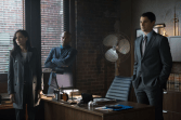 "GOTHAM: Detectives Renee Montoya (Victoria Cartagena, L) and Crispus Allen (Andrew Stewart Jones, C) meet with Harvey Dent (guest star Nicholas D'Agosto) in the ""Harvey Dent"" episode of GOTHAM airing Monday, Nov. 17 (8:00-9:00 PM ET/PT) on FOX. ©2014 Fox Broadcasting Co. Cr: Jessica Miglio/FOX"