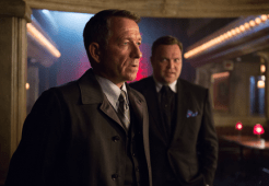 """GOTHAM: Alfred (Sean Pertwee, L) pays a visit to Fish Mooney and Butch Gilzean (guest star Drew Powell, R) in the """"Lovecraft"""" episode of GOTHAM airing Monday, Nov. 24 (8:00-9:00 PM ET/PT) on FOX. ©2014 Fox Broadcasting Co. Cr: Jessica Miglio/FOX"""