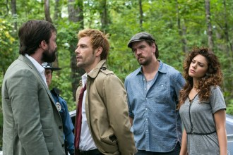 "CONSTANTINE -- ""Danse Vaudou"" Episode 106 -- Pictured: (l-r) Emmett Scanlan as Jim Corrigan, Matt Ryan as John Constantine, Charles Halford as Chas, Angelica Celaya as Zed Martin -- (Photo by: Tina Rowden/NBC)"