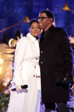 """CHRISTMAS IN ROCKEFELLER CENTER SPECIAL -- Pictured: (l-r) Toni Braxton, Babyface rehearse for """"Christmas in Rockefeller Center"""" -- (Photo by: Giovanni Rufino/NBC)"""