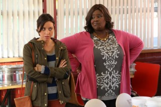 """PARKS AND RECREATION -- """"New Slogan"""" Episode 616 -- Pictured: Aubrey Plaza as April Ludgate, Retta as Donna Meagle -- (Photo by: Byron Cohen/NBC)"""