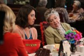 "PARKS AND RECREATION -- ""Galentine's Day"" Episode 617 -- Pictured: (l-r) Aubrey Plaza as April Ludgate, Helen Slayton-Hughes as Ethel Beavers -- (Photo by: Danny Feld/NBC)"