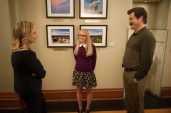 """PARKS AND RECREATION -- """"Prom"""" Episode 618 -- Pictured: (l-r) Amy Poehler as Leslie Knope, Kelly Washington as Allison, Nick Offerman as Ron Swanson -- (Photo by: Colleen Hayes/NBC)"""