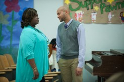"""PARKS AND RECREATION -- """"One In 8,000"""" Episode 620 -- Pictured: (l-r) Retta as Donna Meagle, Keegan-Michael Key as Joe -- (Photo by: Colleen Hayes/NBC)"""