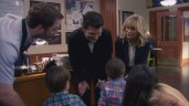 """PARKS AND RECREATION -- """"Moving Up"""" Episode 621/622 -- Pictured: (l-r) Chris Pratt as Andy Dwyer, Adam Scott as Ben Wyatt, Amy Poehler as Leslie Knope -- (Photo by: Screengrab/NBC)"""