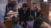 "PARKS AND RECREATION -- ""Moving Up"" Episode 621/622 -- Pictured: (l-r) Chris Pratt as Andy Dwyer, Adam Scott as Ben Wyatt, Amy Poehler as Leslie Knope -- (Photo by: Screengrab/NBC)"
