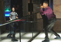 "EMPIRE: Hakeem (Bryshere Gray, R) and Jamal (Jussie Smollett, L) perform in the ""Outspoken King"" episode of EMPIRE airing Monday, Jan. 14 (9:00-10:00 PM ET/PT) on FOX. ©2014 Fox Broadcasting Co. CR: Chuck Hodes/FOX"