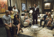"""EMPIRE: Lucious (Terrence Howard) toasts his family in the """"Devil Quotes Scripture"""" episode airing Wednesday, Jan. 21 (9:00-10:00 PM ET/PT) on FOX. Pictured L-R: Jussie Smollett, Serayah McNeill, Taraji P. Henson, Bryshere Gray, Grace Gealey, Terrence Howard, Trai Byers and Kaitlin Doubleday.. ©2014 Fox Broadcasting Co. CR: Chuck Hodes/FOX"""