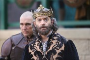 """GALAVANT - """"Death After Brunch"""" - Thinking about being in a relationship, Isabella wants Galavant to try to impress her parents with attentive small talk, but he's confident that breaking everyone out of prison will impress them and save them from certain death. Galavant gets his opportunity for a hero moment when King Richard challenges his brother to a duel and needs a champion to fight for him, on """"Galavant,"""" airing SUNDAY, JANUARY 25 (8:00-8:30 p.m., ET) on the ABC Television Network. (ABC/Nick Ray) VINNIE JONES, TIMOTHY OMUNDSON"""