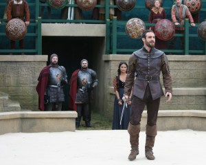 """GALAVANT - """"Death After Brunch"""" - Thinking about being in a relationship, Isabella wants Galavant to try to impress her parents with attentive small talk, but he's confident that breaking everyone out of prison will impress them and save them from certain death. Galavant gets his opportunity for a hero moment when King Richard challenges his brother to a duel and needs a champion to fight for him, on """"Galavant,"""" airing SUNDAY, JANUARY 25 (8:00-8:30 p.m., ET) on the ABC Television Network. (ABC/Nick Ray) KAREN DAVID, JOSHUA SASSE"""