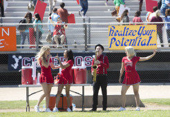 "GLEE: Alumnae's Brittany (Heather Morris, L), Santana (Naya Rivera, C) and Quinn (Dianna Agron, R) return to McKinley High in the second part of the special two-hour ""Loser Like Me/Homecoming"" Season Premiere episode of GLEE on Friday, Jan. 9 (8:00-10:00 PM ET/PT) on FOX. ©2014 Fox Broadcasting Co. CR: Adam Rose/FOX"