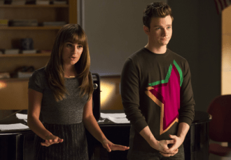 """GLEE: Rachel (Lea Michele, L) and Kurt (Chris Colfer, R) return to McKinley High to coach the glee club in the second part of the special two-hour """"Loser Like Me/Homecoming"""" Season Premiere episode of GLEE on Friday, Jan. 9 (8:00-10:00 PM ET/PT) on FOX. ©2014 Fox Broadcasting Co. CR: Jennifer Clasen/FOX"""