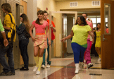 "GLEE: McKinley High alumnae's perform in the second part of the special two-hour ""Loser Like Me/Homecoming"" Season Premiere episode of GLEE on Friday, Jan. 9 (8:00-10:00 PM ET/PT) on FOX. Pictured L-R: Lea Michele, Chord Overstreet, Amber Riley and Mark Salling. ©2014 Fox Broadcasting Co. CR: Jennifer Clasen/FOX"