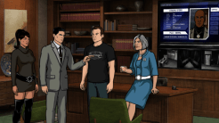 """ARCHER: Episode 2, Season 6 """"Three to Tango"""" (Airing Thursday, January 15, 10:00 PM e/p) An agent from the past has a hand creating tension between Archer and Lana. Pictured: (L-R) Lana Kane (voice of Aisha Tyler), Sterling Archer (voice of H. Jon Benjamin), Slater (voice of Christian Slater), Malory Archer (voice of Jessica Walter). CR: FX"""