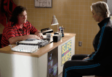"""GLEE: Sue (Jane Lynch, R) and Coach Beiste (Dot-Marie Jones, L) have a heart-to-heart discussion in the """"Jagged Little Tapestry"""" episode of GLEE airing Friday, Jan. 16 (9:00-10:00 PM ET/PT) on FOX. ©2014 Fox Broadcasting Co. CR: Tyler Golden/FOX"""