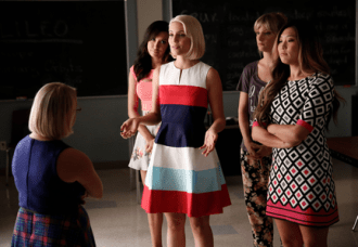 "GLEE: L-R: Becky (Lauren Potter) is confronted by Santana (Naya Rivera), Quinn (Dianna Agron), Brittany (Heather Morris) and Tina (Jenna Ushkowitz) in the ""Jagged Little Tapestry"" episode of GLEE airing Friday, Jan. 16 (9:00-10:00 PM ET/PT) on FOX. ©2014 Fox Broadcasting Co. CR: Tyler Golden/FOX"