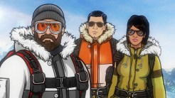 """ARCHER: Episode 3, Season 6 """"The Archer Sanction"""" (Airing Thursday, January 22, 10:00 PM e/p) Archer, Lana and Ray climb their way to the top of an assassin's hit list. Pictured: (L-R) Patrick """"Crash"""" McCarran (voice of Rob Huebel), Sterling Archer (voice of H. Jon Benjamin), Lana Kane (voice of Aisha Tyler). CR: FX"""