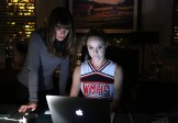 """GLEE: Kitty (Becca Tobin, R) helps Rachel (Lea Michele, L) find the perfect set list to win in the """"The Hurt Locker, Part Two"""" episode of GLEE airing Friday, Jan. 30 (9:00-10:00 PM ET/PT) on FOX. ©2014 Fox Broadcasting Co. CR: Beth Dubber/FOX"""