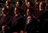 "GLEE: Blaine (Darren Criss, R) and his team watch the New Directions perform in the ""The Hurt Locker, Part Two"" episode of GLEE airing Friday, Jan. 30 (9:00-10:00 PM ET/PT) on FOX. ©2014 Fox Broadcasting Co. CR: Jennifer Clasen/FOX"