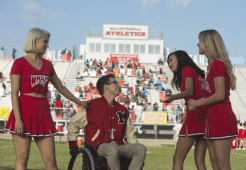 """GLEE: Alumnae's Quinn (Dianna Agron, L), Artie (Kevin McHale, second from L), Santana (Naya Rivera, third from L) and Brittany (Heather Morris, R) return to McKinley High in the second part of the special two-hour """"Loser Like Me/Homecoming"""" Season Premiere episode of GLEE on Friday, Jan. 9 (8:00-10:00 PM ET/PT) on FOX. ©2014 Fox Broadcasting Co. CR: Adam Rose/FOX"""