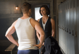"GOTHAM: Dr. Leslie Thompkins (guest star Morena Baccarin, R) visits Detective James Gordon (Ben McKenzie, L) at the GCPD precinct in the ""What The Little Bird Told Him"" episode of GOTHAM airing Monday, Jan. 19 (8:00-9:00 PM ET/PT) on FOX. ©2014 Fox Broadcasting Co. Cr: Jessica Miglio/FOX"