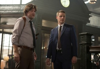 "GOTHAM: Detectives James Gordon (Ben McKenzie, R) and Harvey Bullock (Donal Logue, L) address corruption within the GCPD in the ""Welcome Back, Jim Gordon"" episode of GOTHAM airing Monday, Jan. 26 (8:00-9:00 PM ET/PT) on FOX. ©2015 Fox Broadcasting Co. Cr: Jessica Miglio/FOX"