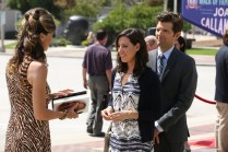 """PARKS AND RECREATION -- """"Ron & Jammy"""" Episode 702 -- Pictured: (l-r) Mo Collins as Joan Callamezzo, Aubrey Plaza as April Ludgate, Adam Scott as Ben Wyatt -- (Photo by: Byron Cohen/NBC)"""