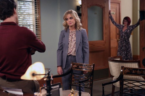"""PARKS AND RECREATION -- """"Ron and Jammy"""" Episode 702 -- Pictured: (l-r) Jon Glaser as Councilman Jamm, Amy Poehler as Amy Poehler, Megan Mullally as Tammy -- (Photo by: Danny Feld/NBC)"""