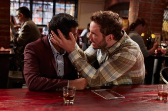 "PARKS AND RECREATION -- ""Ron and Jammy"" Episode 702 -- Pictured: (l-r) Aziz Ansari as Tom Haverford, Chris Pratt as Andy Dwyer -- (Photo by: Ben Cohen/NBC)"