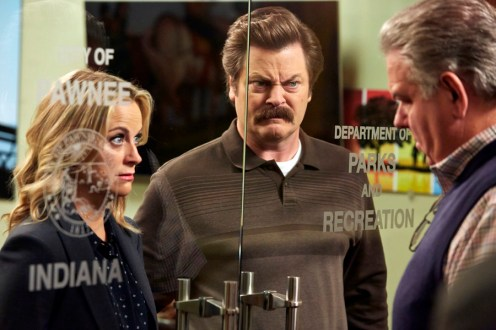 """PARKS AND RECREATION -- """"Funkin' Gonuts"""" Episode 704 -- Pictured: (l-r) Amy Poehler as Leslie Knope, Nick Offerman as Ron Swanson, Jim O'Heir as Jerry Gergich -- (Photo by: Ben Cohen/NBC)"""