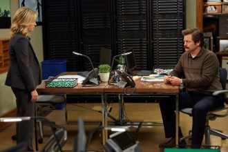 "PARKS AND RECREATION -- ""Funkin' Gonuts"" Episode 704 -- Pictured: (l-r) Amy Poehler as Leslie Knope, Nick Offerman as Ron Swanson -- (Photo by: Ben Cohen/NBC)"