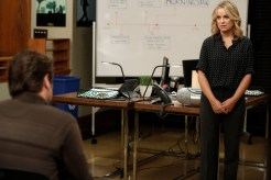 "PARKS AND RECREATION -- ""Funkin' Gonuts"" Episode 704 -- Pictured: (l-r) Nick Offerman as Ron Swanson, Amy Poehler as Leslie Knope -- (Photo by: Tyler Golden/NBC)"