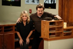 """PARKS AND RECREATION -- """"Funkin' Gonuts"""" Episode 704 -- Pictured: (l-r) Amy Poehler as Leslie Knope, Nick Offerman as Ron Swanson -- (Photo by: Tyler Golden/NBC)"""