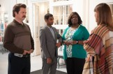 "PARKS AND RECREATION -- ""William Henry Harrison"" Episode 705 -- Pictured: (l-r) Nick Offerman as Ron Swanson, Aziz Ansari as Tom Haverford, Retta as Donna Meagle, Erinn Hayes as Annabel -- (Photo by: Colleen Hayes/NBC)"