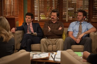 """PARKS AND RECREATION -- """"Save JJ's"""" Episode 707 -- Pictured: (l-r) Adam Scott as Ben Wyatt, Nick Offerman as Ron Swanson, Chris Pratt as Andy Dwyer -- (Photo by: Colleen Hayes/NBC)"""