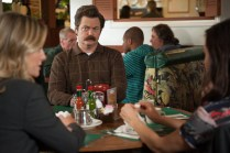 "PARKS AND RECREATION -- ""Save JJ's"" Episode 707 -- Pictured: (l-r) Amy Poehler as Leslie Knope, Nick Offerman as Ron Swanson -- (Photo by: Colleen Hayes/NBC)"
