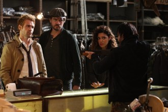 "CONSTANTINE -- ""Quid Pro Quo"" Episode 110 -- Pictured: (l-r) Matt Ryan as Constantine, Charles Halford as Chas, Anjelica Celaya as Zed, Roger Floyd as Fennel -- (Photo by: Annette Brown/NBC)"