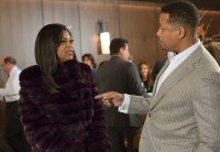 """EMPIRE: Cookie (Taraji P. Henson, L) and Lucious (Terrence Howard, R) chat in the """"Out Damned Spot"""" episode of EMPIRE airing Wednesday, Feb. 11 (9:01-10:00 PM ET/PT) on FOX. ©2015 Fox Broadcasting Co. CR: Chuck Hodes/FOX"""