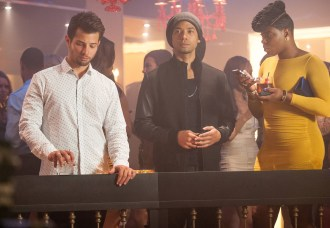 """EMPIRE: Michael (guest star Rafael de la Fuente, L), Jamal (Jussie Smollett, C) and Porsha (guest star Ta'Rhonda Jones, R) wait for Cookie to arrive in the """"Out Damned Spot"""" episode of EMPIRE airing Wednesday, Feb. 11 (9:01-10:00 PM ET/PT) on FOX. ©2015 Fox Broadcasting Co. CR: Matt Dinnerstein/FOX"""