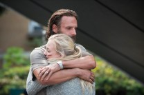 Andrew Lincoln and Emily Kinney - The Walking Dead _ Season 5, Episode 8 _ BTS - Photo Credit: Gene Page/AMC