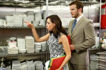 "PARKS AND RECREATION -- ""Donna and Joe"" Episode 703 -- Pictured: (l-r) Aubrey Plaza as April Ludgate, Chris Pratt as Andy Dwyer -- (Photo by: Greg Gayne/NBC)"