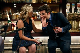 "PARKS AND RECREATION -- ""Donna and Joe"" Episode 703 -- Pictured: (l-r) Amy Poehler as Leslie Knope, Adam Scott as Ben Wyatt -- (Photo by: Greg Gayne/NBC)"